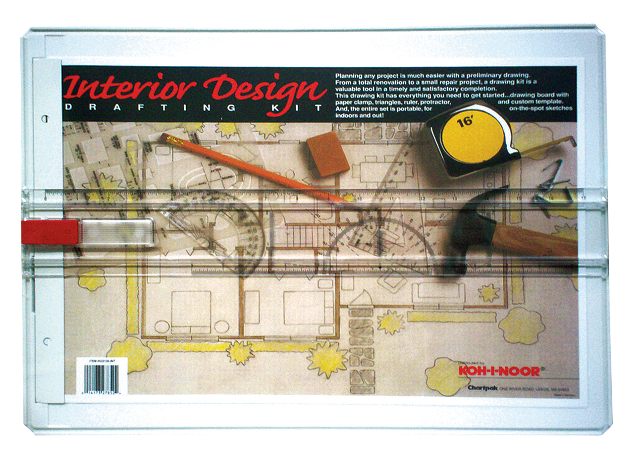 INTERIOR DESIGN DRAFTING KIT Contains Plastic Drawing Board Interior Design